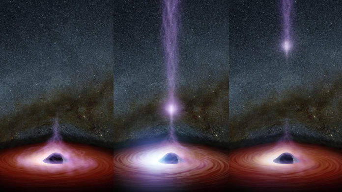 This diagram shows how a shifting feature, called a corona, can create a flare of X-rays around a black hole