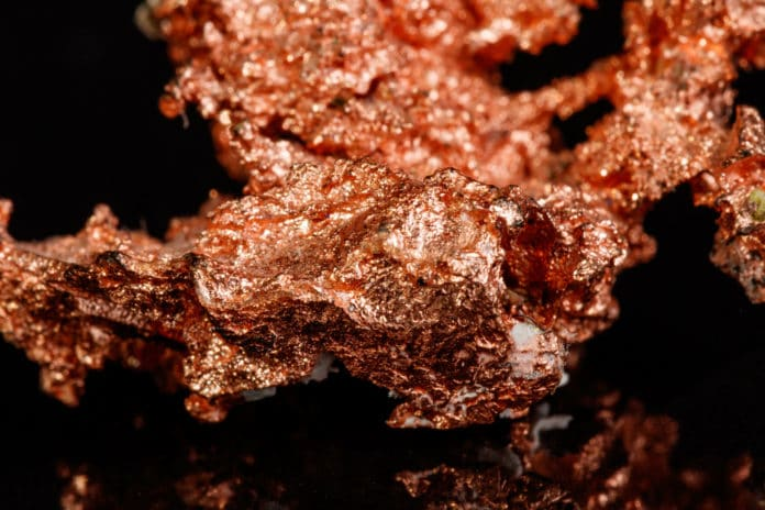 A close-up of a piece of copper ore