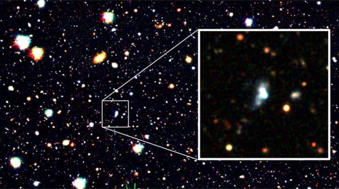 Machine learning has discovered a galaxy with an extremely low oxygen