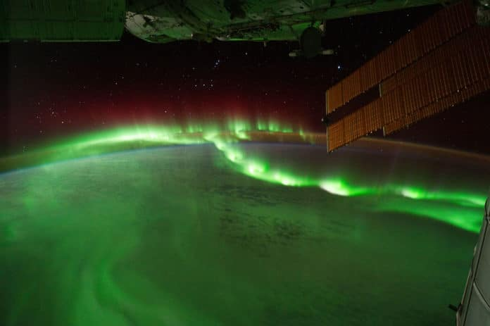 Auroral beads seen from the International Space Station