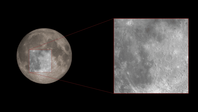 light reflecting from a specific region of the moon