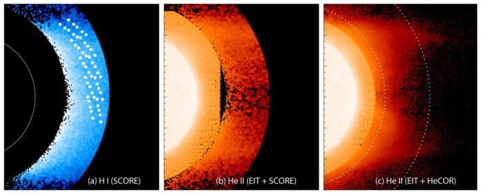A composite image of the Sun showing the hydrogen (left) and helium (center and right) in the low corona