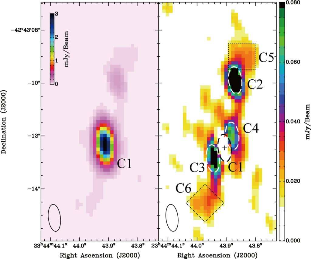 1 / 1Radio observations of the center of the Phoenix Galaxy Cluster showing jet structures extending out from the central galaxy