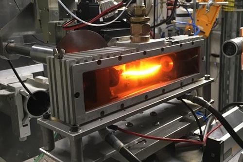 The erupted Etna rock is melted in a wire furnace on the synchrotron beamline at Diamond Light Source
