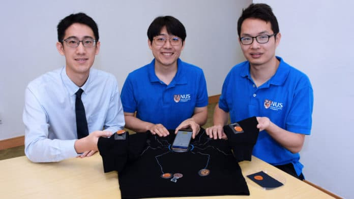 The smartphone-powered suit – pictured here with a design which resembles the motif on Spider-Man's suit – is designed by a team led by Asst Prof John Ho (left). With him are two members of the research team: Dr Kim Han-Joon (centre) and Dr Lin Rongzhou (right). Credit: National University of Singapore