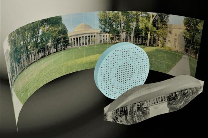3D artistic illustration of the wide-field-of-view metalens