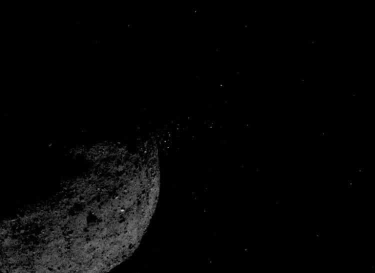 Particles ejected from the surface of Bennu