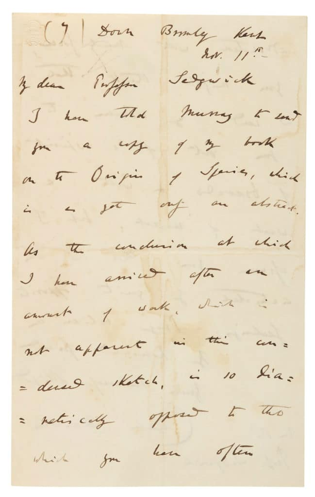 Dated 11 November 1859, a letter to geologist Adam Sedgwick accompanying a copy of On the Origin of Species.