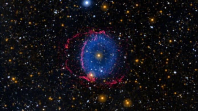The Blue Ring Nebula consists of two expanding cones of debris