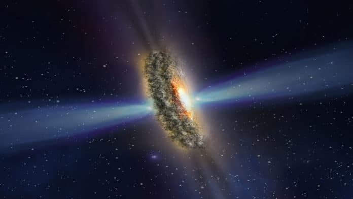 Scenario for mysterious light beams from active galaxy