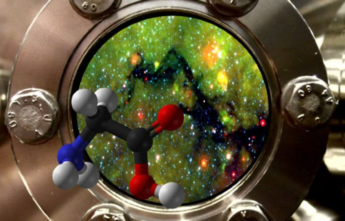 A view port of an experimental setup, showing a region in space with prestellar cores. The molecule that looks as if it is just getting out of the setup is Glycine