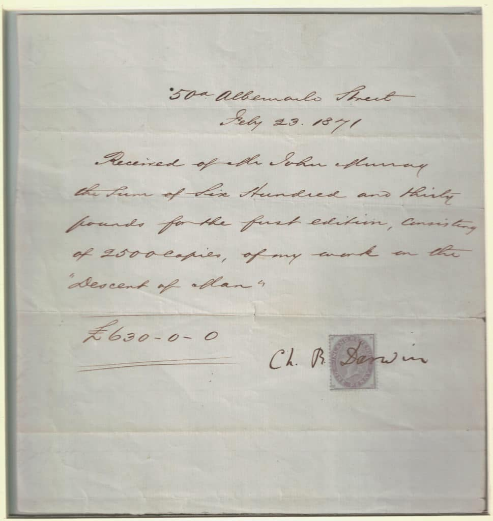 """Dated 1871, this very rare document is the receipt for Darwin's earnings for the first edition of Descent of man. It is in the hand of a clerk of his publisher John Murray and signed by Darwin in the unusual form of """"Ch. R. Darwin"""" over an inland revenue one-penny stamp."""