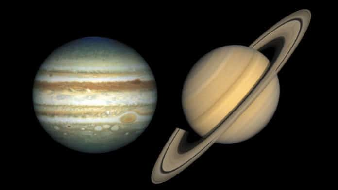 Weather systems on Jupiter and Saturn might be driven by internal forces
