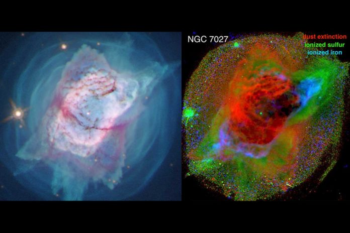 On the left is an image of the Jewel Bug Nebula (NGC 7027) captured by the Hubble Space Telescope in 2019 and released in 2020