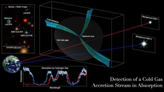 Streams of cold gas provisioned early, massive galaxies