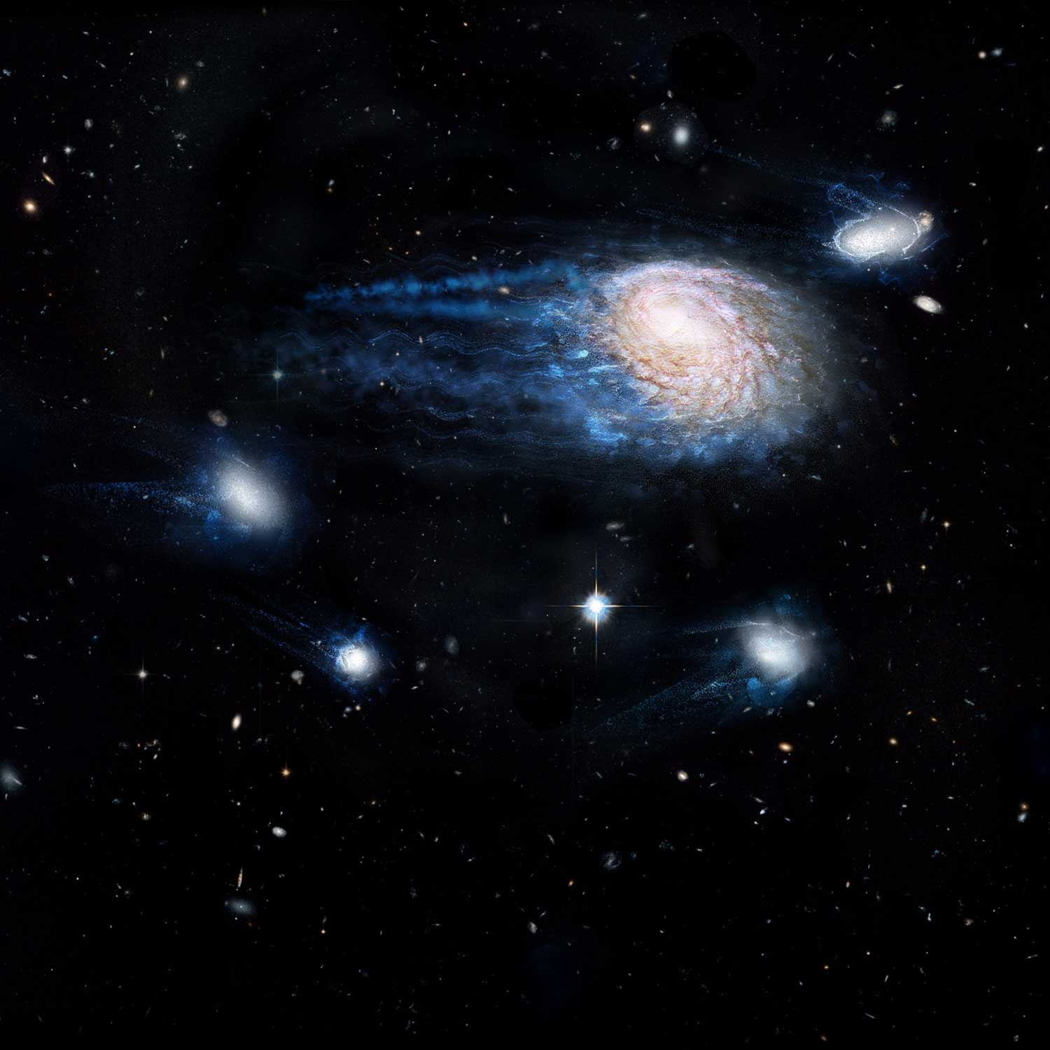 Large galaxies strip star-forming gases from their small satellite galaxies