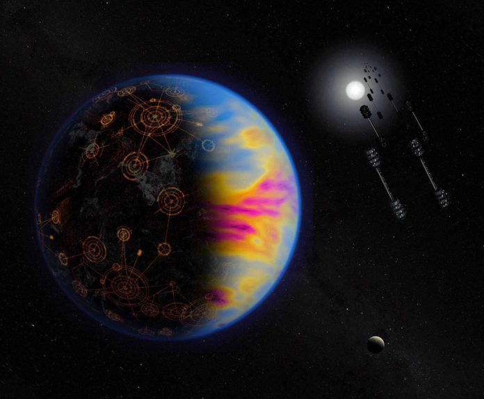 Artist's illustration of a technologically advanced exoplanet