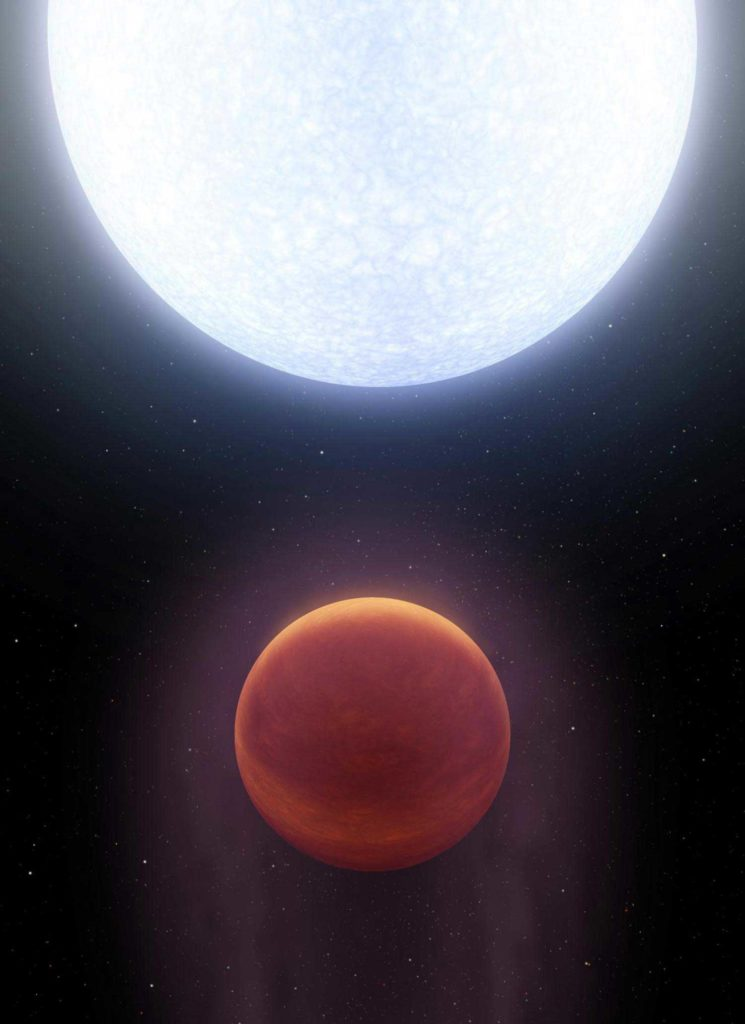 Artist's depiction of a planet named KELT-9b, currently the hottest known exoplanet, which may resemble a candidate world in orbit around Vega