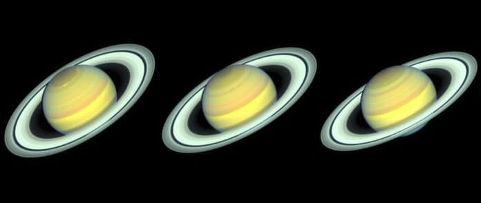 Hubble Space Telescope images of Saturn taken in 2018, 2019, and 2020 as the planet's northern hemisphere summer transitions to fall