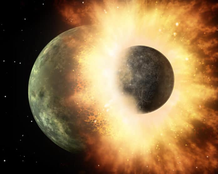 Remnants of the impact that formed the Moon may be buried deep within the Earth