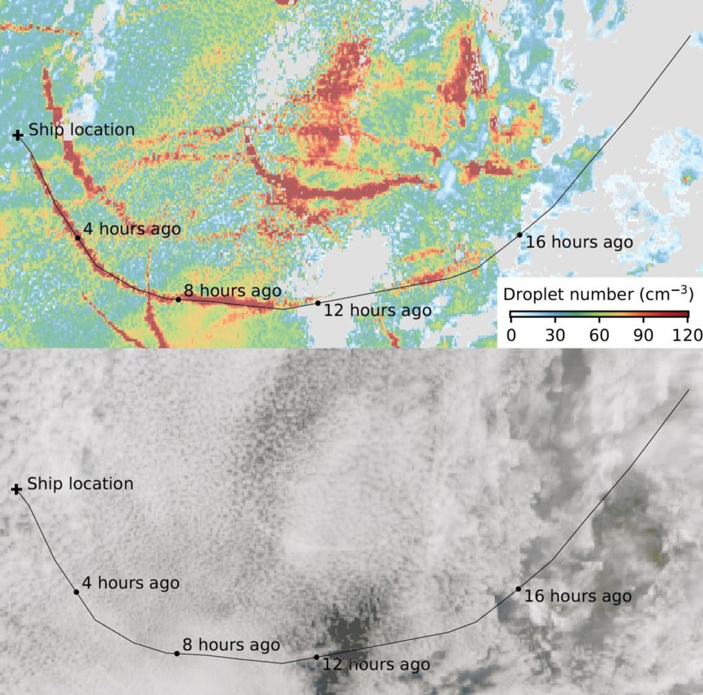 Satellite image showing the impact of ships on droplet number