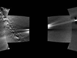 Images from the WISPR instrument — short for Wide-field Imager for Solar Probe — on board NASA's Parker Solar Probe spacecraft have provided the first complete view of the ring of dust along Venus' orbit. The dust ring stretches diagonally from the lower left to the upper right of the image, marked by the red dashed line in the annotated version of the image (right). The bright objects are planets: from left to right, Earth, Venus, and Mercury. Part of the Milky Way galaxy is visible on the left side. The four frames of this composite image were captured on Aug. 25, 2019. Credits: NASA/Johns Hopkins APL/Naval Research Laboratory/Guillermo Stenborg and Brendan Gallagher