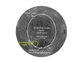 View of the southern, midlatitude far side of the moon showing the SPA basin outlined in white and the Schrödinger basin outlined in yellow