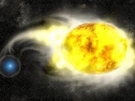 Artist's impression of a yellow supergiant in a close binary with a blue