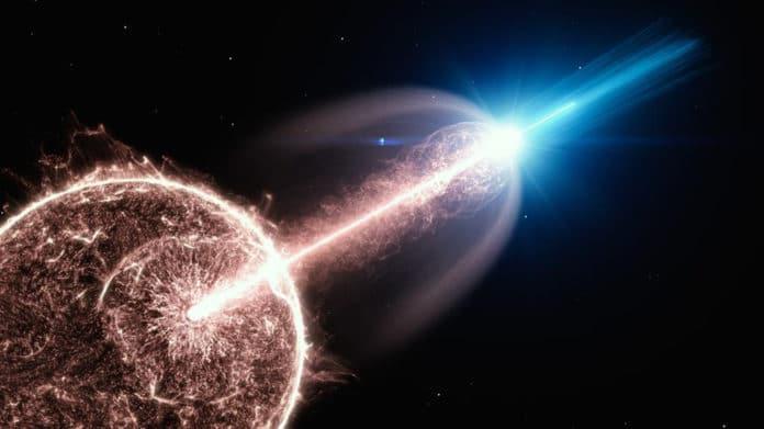 Artist's impression of a relativistic jet of a gamma-ray burst