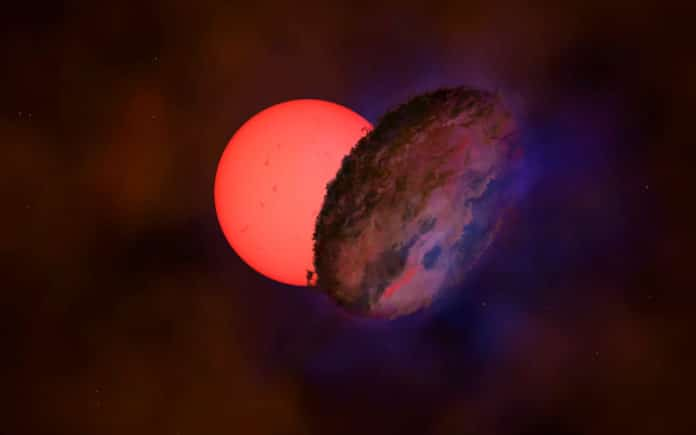 giant blinking star behind a dusty disk
