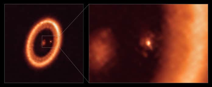 Wide and close-up views of a moon-forming disc as seen with ALMA