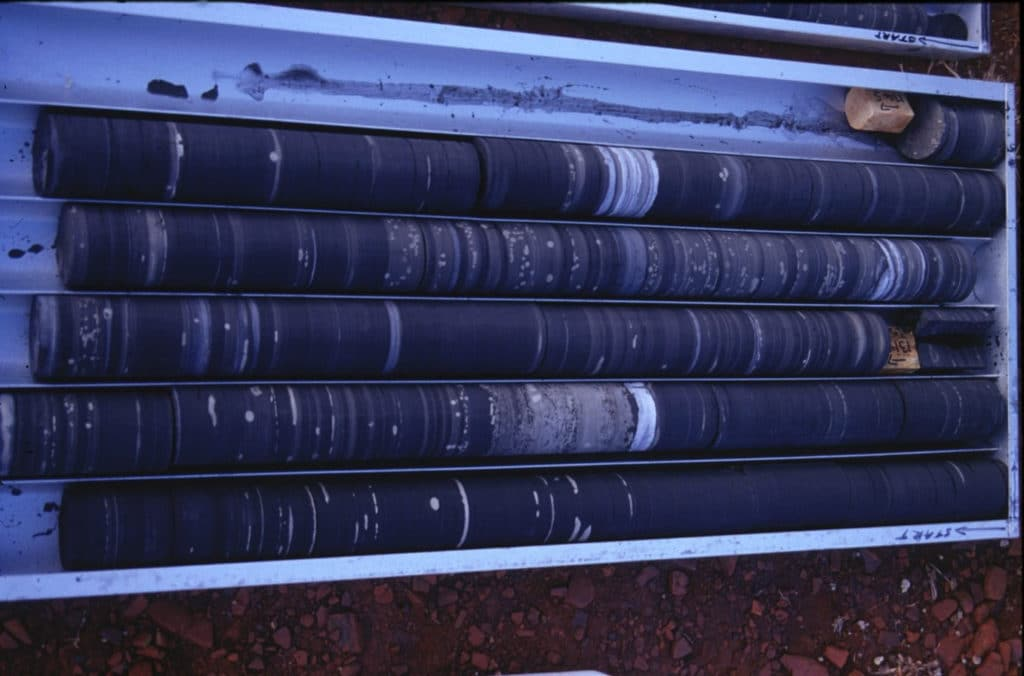 These are core drilling rocks from the Mount McRae shale