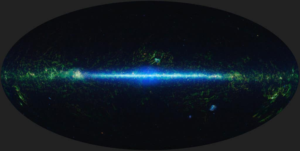 This mosaic shows the entire sky imaged by the Wide-field Infrared Survey Explorer