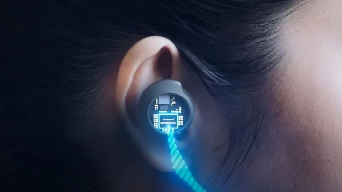 Image showing ear, hair and earbuds