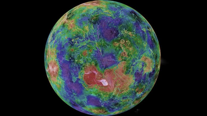This hemispheric view of Venus